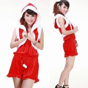 【サンタクロース コスプレ 衣装】コスプレ 可愛いフード付きベストクリスマスサンタさん